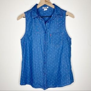 Levis Chambray Star Print Sleeveless Button Down